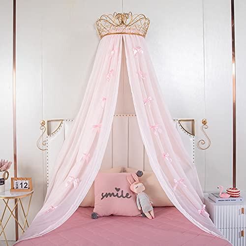 Lotus Karen Princess Bed Canopy Chiffon Girls Bed Curtain Decorative Drapery Metal Crown for Girls Cute Pink Bow-Knots...