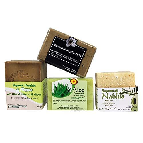 Kit Suave - 4 jabones artesanales 100% naturales - Jabón de Alepo al 16%, Jabón de Nablus, Jabón...