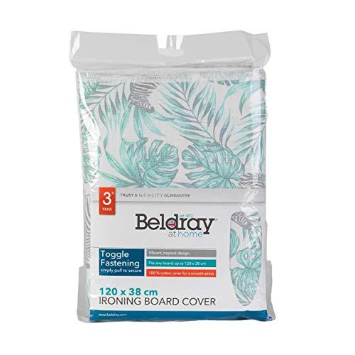 Beldray LA066176AS Ironing Board Cover | 120 x 38 cm | Leaf Pattern | 100% Cotton