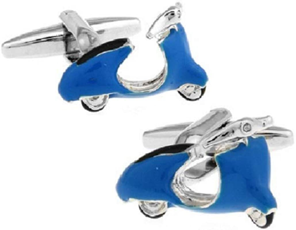 MRCUFF Moped Blue Scooter Pair Cufflinks in a Presentation Gift Box & Polishing Cloth