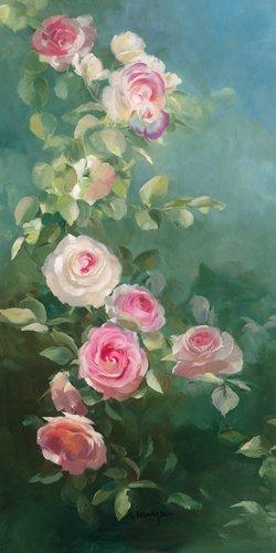 Leinwandbild Sylvie Vernageau - Rosier Pierre de Ronsard - 40 x 80cm - Premiumqualität - Blumen, rosa Rosen, Blüten, Pflanzen, Botanik, Dunst, Wohnzimmer, Schlafzimm.. - MADE IN GERMANY - ART-GALERIE-SHOPde