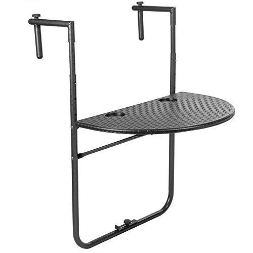 PrimeMatik - Mesa semicircular Ajustable para balcón 60x39cm Negro