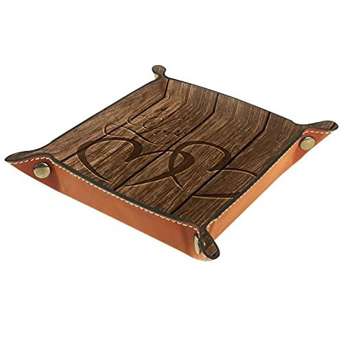 Bandejas de madera talladas en forma de corazón para hombres, organizador de mesita de noche, organizador de mesa de entrada, bandeja de dados, organizador de aparador