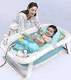 Bañera para Bebé y Niño para Baño Infantil Plegable Portátil y Segura Certificado,Bañera Plegable para Bebés 0-36 Meses, Baño Bebe con Red de Seguridad, Longitud de La Piscina para Bebés 82 cm