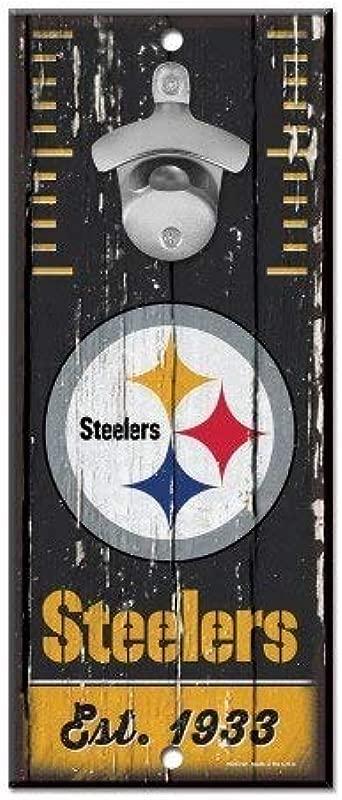 Wooden Wall Mounted Bottle Opener 6x12 Pittsburgh Steelers