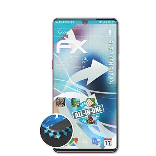 atFolix Schutzfolie kompatibel mit ZTE Nubia Z18 Folie, ultraklare & Flexible FX Bildschirmschutzfolie (3X)