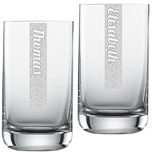 Miriquidi Wassergläser 2er Set mit Gravur |2 Stück Wasserglas 255ml Schott Zwiesel Convention Nr. 12 Glas | Spülmaschinenfest | Trinkglas & Individuelle Lasergravur