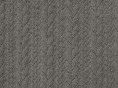 Qualitativ hochwertiger, dehnbarer Strickstoff mit Zopfmuster in Grau als Meterware zum Nähen von Kinder- und Erwachsen Kleidung, 50 cm