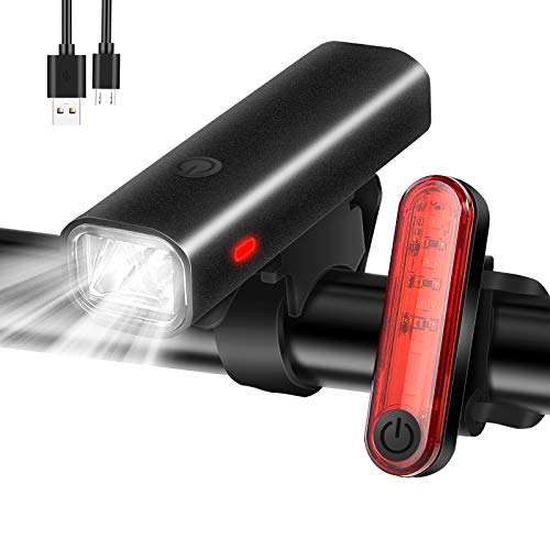 chivving Fahrradlicht LED Frontlicht & Rücklicht - USB Wiederaufladbare Fahrradlichter - Wasserdicht Fahrradlampe Set - StVZO Zugelassen Fahrradbeleuchtung