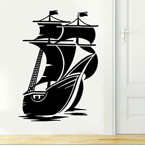 Decoración Náutica Del Hogar Vintage Barco Pirata Vela Vinilo Calcomanía Decoración De Interiores Sala De Estar Pasta Papel Tapiz Mural 42X58Cm