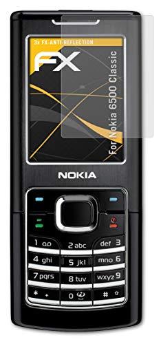 atFolix Panzerfolie kompatibel mit Nokia 6500 Classic Schutzfolie, entspiegelnde & stoßdämpfende FX Folie (3X)