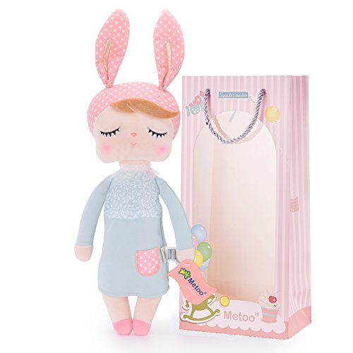 Metoo Dolls Baby Girl Gifts - Plush Angela Stuffed Bunny Rabbit Sleeping Toys Gray Dress with Gift Bag (12 inches)……