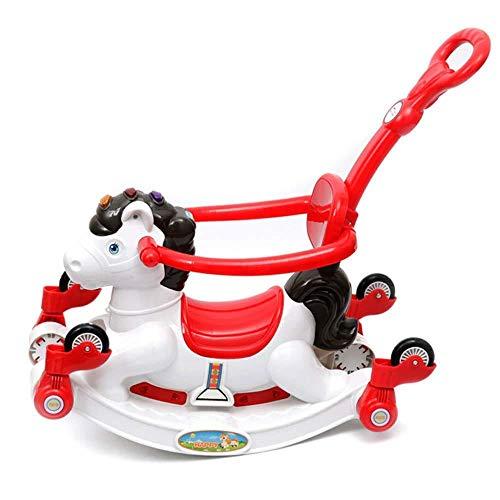 Cheval à bascule XMJ Enfant, Rocker Toy Musique Toddler Rocking Chair Guardrail Panier Roues Solde Bébé de Enfants Rocking Horse Toy Cadeau (Color : A)