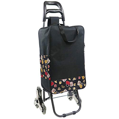 Portable Shopping Trolley Cart with Detachable Bag Folding 6-Wheel Push Pull Carts Ladies, Mens & Unisex Designs Hand Truck Quick and Easy Transport Load Capacity 25 Kg