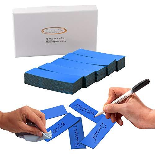 ECENCE 75 Magnetstreifen beschreibbar - 60x20mm Blau - zuschneidbare Haftstreifen - abwischbare Magnetschilder - Magnet-Etiketten für Whiteboards, Kühlschränke, Magnettafeln