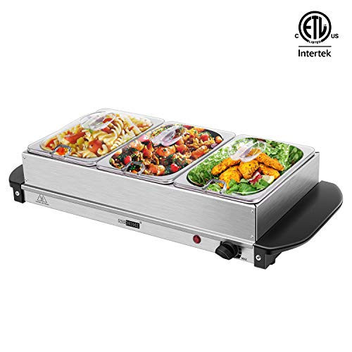 VIVOHOME 2 in 1 Electric Buffet Server with Triple Food Warming Trays for Home ETL Listed, 3 x 1.6 Quart