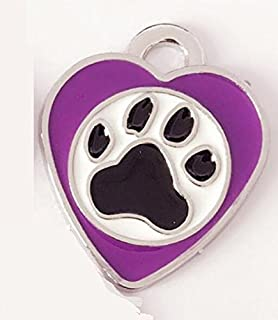 Polykor Useful Heart-Shaped Footprints Dog Tag Pet Pendant Color Paint Tag(Purple)