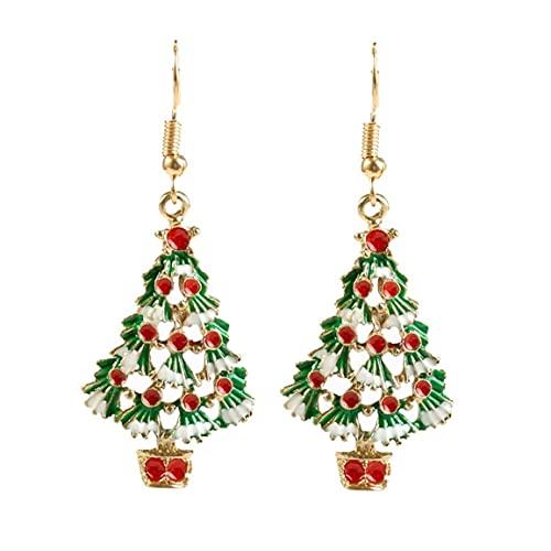 Runfon Christmas Dangle Pendientes Set de Navidad Árbol Drop Pendientes Día de Acción de Acción de Gracias Regalo para Mujeres Chicas 1 par