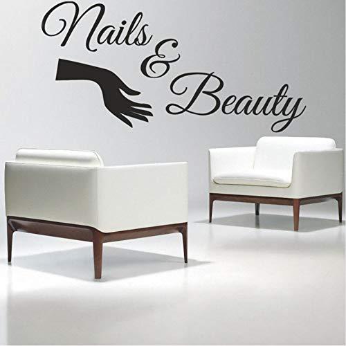 Olivialulu Nagel Salon Vinyl Muursticker Nagels & Schoonheidssalon Vernis Poolse Manicure Muursticker Schoonheidssalon Nagel Bar Raam Decoratie 100 * 50Cmcolor Grootte kan worden aangepast