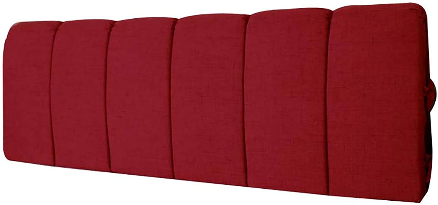 LXLIGHTS Headboard Bedside Cushion All-Inclusive Bed Wedge Bay Window Backrest Waist Pad Sofa Pillows, Easy to Install Washable (color   Red, Size   with headboard-210cm)