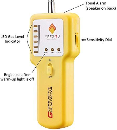 Détecteur de Gaz Naturel, Détecteur de Fuite de Gaz Propane, Détecteur de Gaz, Détecteur de Gaz Explosif Combustible Portable, Testeur : Méthane, Butane, GPL, GNL ; Manche du Capteur Flexible