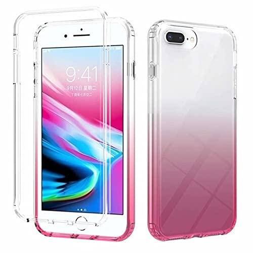 FHXD Compatibile con Custodia iPhone 8 Plus/7 Plus/6 Plus Pendenza Colore Antigraffio Cover Morbido Trasparente Posteriore Case + Ultra Slim Silicone TPU Frontiera Davanti Caso-Rosso