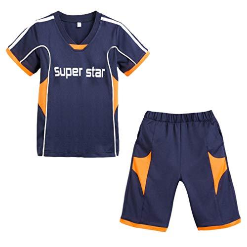 MARRYME 2er Fußball Trainingsanzug Jungen Kinder Sport Bekleidung Sportanzug (Marineblau, Größe 140/Brust 41cm)