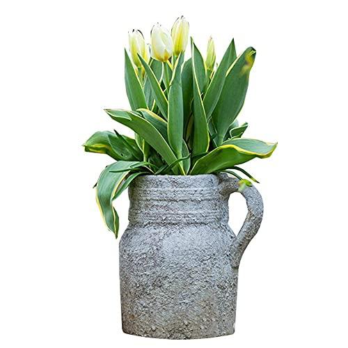 sahadsbv Soporte para Flores, Maceta, sólido y Estable, Resistente al Desgaste y Duradero, florero de gres Retro, Adecuado para jardín, Exterior y Patio (Color: Gris, tamaño: 12X19X20CM)