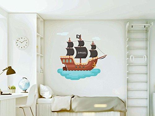 Vinilo Decorativo Pared Infantil   Barco Pirata Personalizado   Varias Medidas 100x100cm   Adhesivo Resistente y de Facil Aplicación   Multicolor   Pegatina Adhesiva Decorativa de Diseño Elega