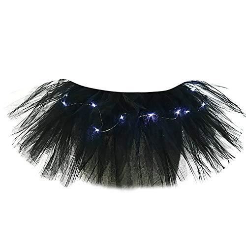TIFIY Damen Tüllrock Mode 5 Schichten Ballettrock Mit LED Kleine Lampe Party Abend Tutu Rock Solide Unterrock Netzrock Elegant Petticoat(Schwarz,One Size