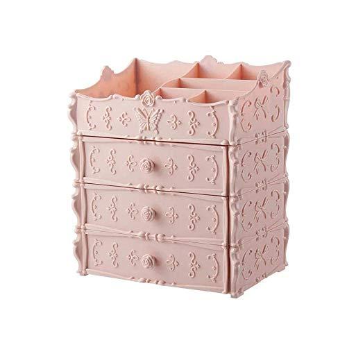 TTZY Make-up-Organisator Multi-Schicht-Kunststoff-Kosmetik Schublade Container Box for die Aufbewahrung Make Up-Halter-Kasten Büro Boxen-Rosa SHIYUE (Color : Pink)