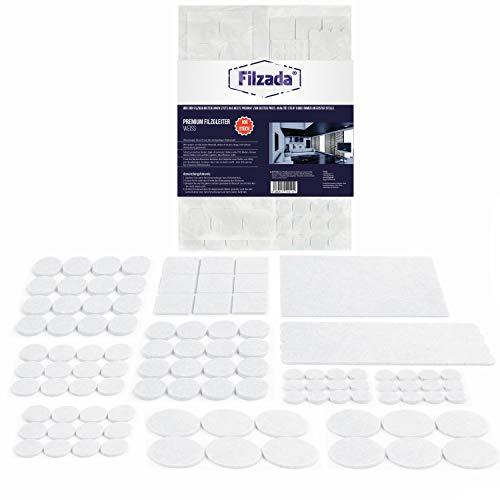 Filzada® Filzgleiter Selbstklebend Set 106 Stück (Eckig und Rund) - Weiß - Profi Möbelgleiter Filz Mit Idealer Klebkraft