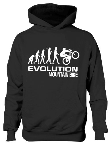Mountain Bike/Biker ~ Evolution of~Kids/Girls/Boys Hoodie in 6 Colours 12-13 Black