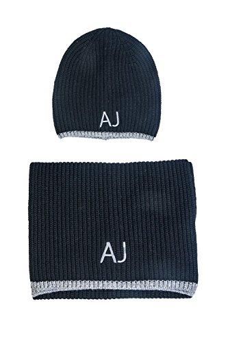 ARMANI JEANS AJ NEU HERREN Mütze mit Schal blau schwarz grau men scarf Halstuch Tuch Hut Schwarz/Grau M (56-57)