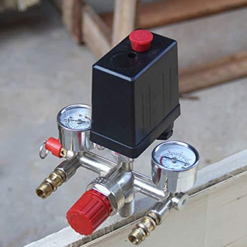 Soapow 230V presión interruptor de válvula de aire Manifold compresor de aire control de presión regulador