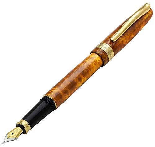 Xezo Phantom Autumn - Penna stilografica smaltata a mano, placcata in oro 18 carati, con pennino sottile Nessun due.