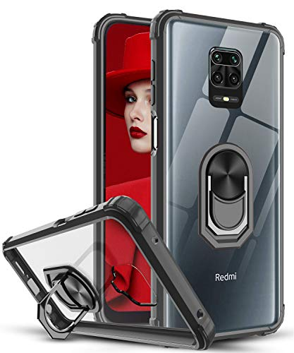 LeYi für Xiaomi Redmi Note 9S/Note 9 Pro/Note 9 Pro Max Hülle, Ringhalter Schutzhülle Acryl Cover Air Cushion Bumper Handy Hüllen für Case Handyhülle Schwarz