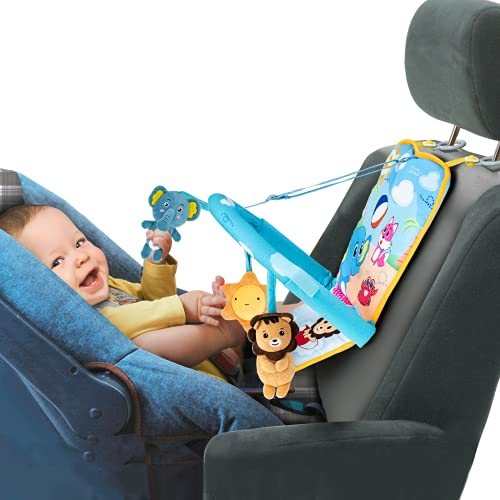 Itomoro Car Seat Toys for Infant, Baby Car Toys Rear Facing, Three Kickable and Playable Cute Dolls with Sounds, Baby Car Accessories Suitable for 0-6-12 Months, Best Car Travel Companion