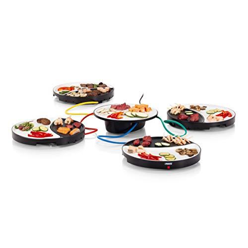 Princess 01.103080.01.001 Dinner4All Tischgrill für bis zu 4 Personen - abnehmbare Porzellanplatten 103080, schwarz, keramik
