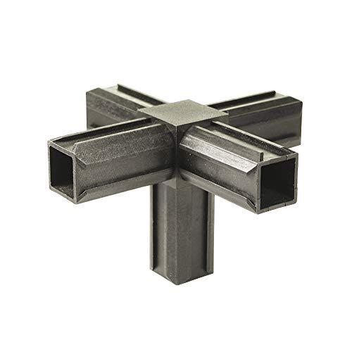GAH-Alberts 426408 XD-Rohrverbinder | Kreuzstück und einem weiteren rechtwinkeligen Abgang | Kunststoff, schwarz | 20 x 20 x 1,5 mm