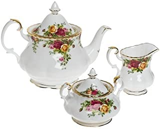 Royal Doulton Old Country Roses 3-Piece Tea Set, Mostly White with Multicolored Floral Print