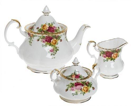 Royal Doulton Old Country Roses Tee-Set, 3-teilig, Weiß mit buntem Blumendruck