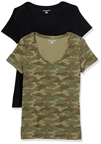 Amazon Essentials Paquete de 2 Camisetas de Manga Corta con Cuello Redondo. Fashion-t-Shirts, Estampado de Camuflaje Verde/Negro, 40-42, Pack de 2