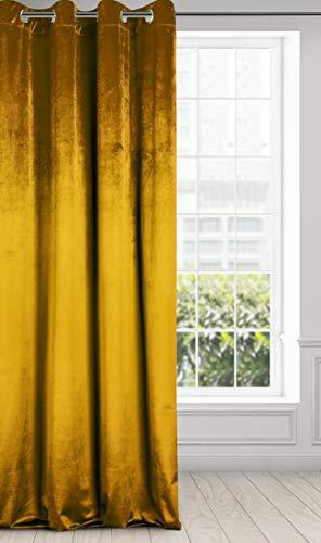Eurofirany Cortina Aterciopelada de Terciopelo – 8 Ojales, Suave, Moderno, Dormitorio, salón, Elegante, 1 Pieza, Amarillo Mostaza, 140 x 250 cm
