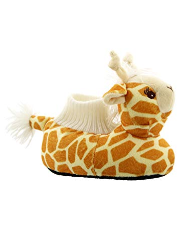 Yankee Toy Box Plush Giraffe Animal Toddler Boys Girls Sock Top Slippers (3-4 M US Toddler, Giraffe Yellow)