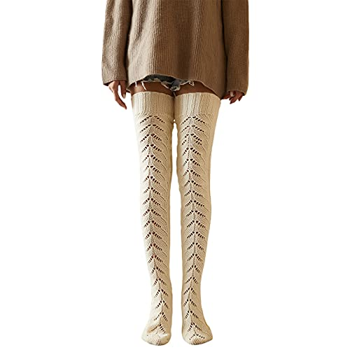 Fashion Women's Cable Knit Socks Over the Knee High-Pass Socks Winter Long Tube Semi-Warm Stockings (White, One Size)