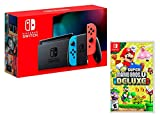 Console Nintendo Switch 32Gb Rouge/Bleu Néon + Manette Joy-Con droite/guche, support Joy-Con station d'accueil Nintendo Switch un câble HDMI, un adaptateur secteur Nintendo Switch - Une paire de dragonnes Joy-Con inclus: New Super Mario Bros. U Delux...