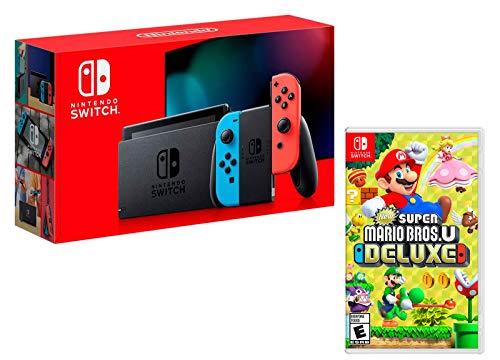 Nintendo Switch Rouge/Bleu Néon 32Go + New Super Mario Bros. U Deluxe