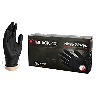 AMMEX Nitrile Gloves - Disposable, Powder Free, Latex Rubber Free, Food Safety, 3 mil Thick