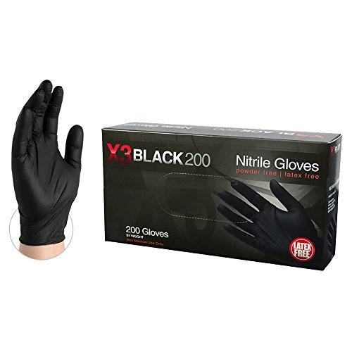 AMMEX X3 Industrial Black Nitrile Gloves, Box of 200, 3 mil, Size XLarge, Latex Free, Powder Free, Textured, Disposable, Non-Sterile, BX3D48100-BX